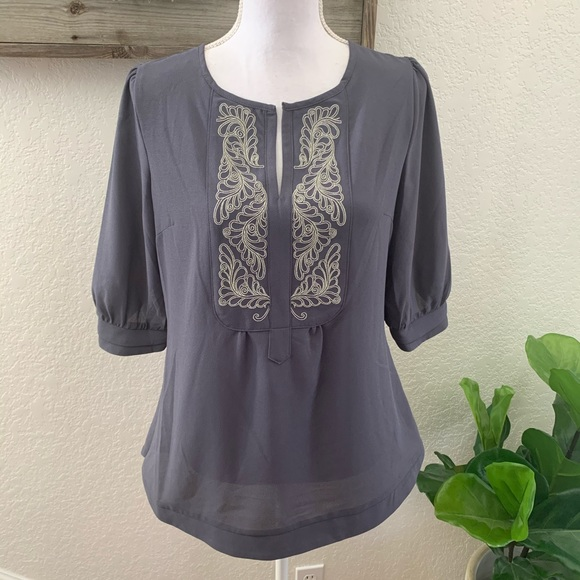 Stitch fix Brixon Ivy gray embroidered blouse top